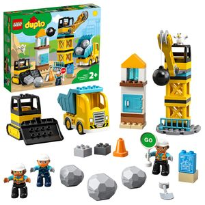 LEGO 10932 DUPLO Baustelle mit Abrissbirne, Spielzeug mit Baustellenfahrzeugen wie LKW, Kran und Bagger, Motorikspielzeug für Kinder ab 2 Jahre
