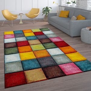 Kurzflor Wohnzimmer Teppich Bunt Karo Design Vierecke Mehrfarbig Farbenfroh, Grösse:160x230 cm