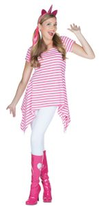 Rubies 13342 - Ringel Tunika pink-weiß gestreift * Karneval * Ringel Shirt