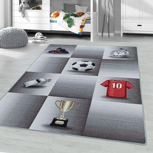 Kinderteppich Spielteppich Fußball Ball Sport Motiv rechteckig Höhe 8 mm  , Größe:80 x 120 cm, Farbe:Grau