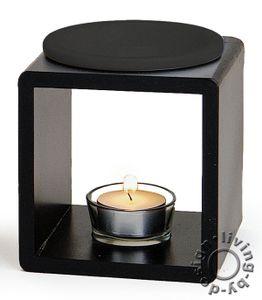 Duftlampe schwarz aus Holz und Keramik Öllampe Aromalampe Aromaspender