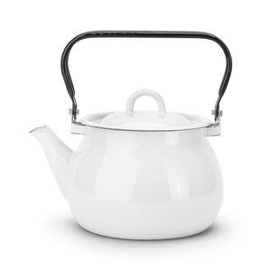 Wasserkessel 2L Emaille Teekessel Wasserkocher Induktion Weiß