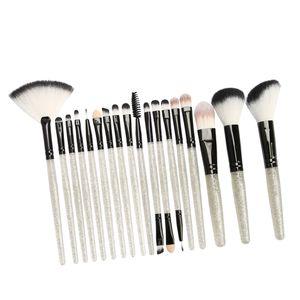18-teiliges Kosmetikpinsel-Set für Foundation Powder Concealer Silber-Schwarz Farbe Silber schwarz