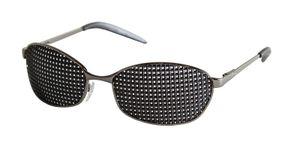 Rasterbrille 420-LAP, anthraziter Metallrahmen - quadratischer Raster - Lochbrille - Sehhilfe - Augentraining - pinhole glasses