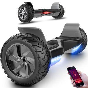MARKBOARD Hoverboard All Terrain Self Balancing Scooter Schwarz mit leistungsstarker LED-Motorbeleuchtung Bluetooth-App für Erwachsene und Kinder 8,5 Zoll