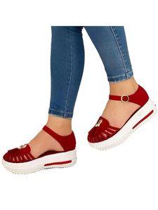 Abtel Damen Plattform Knöchelschnalle Sandalen Sommermode Einfarbige Sandalen,Farbe:Rot,Größe:39