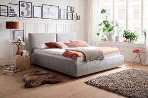 Meise Möbel Polsterbett Atesio 180x200 cm Farbe wählbar, Stoffe:Stoff hellgrau