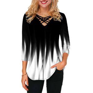Damen 3/4 Ärmel Top Farbverlauf Bluse Casual T-Shirts Blusentops, Weiß, XL