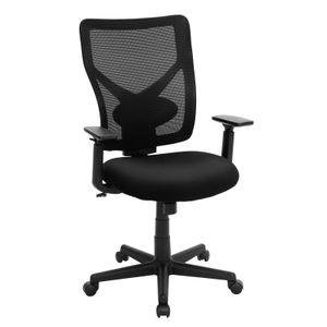 SONGMICS Bürostühle bis 120kg belasrbar Netzrücken höhenverstellbar ergonomisch mit verstellbarer Lendenstütze und Armlehnen Schwarz OBN36BK