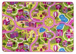 Straßenteppich Kinderspielteppich Mädchen 140 x 200 cm Kinderteppich Sweet Village Town Spielteppich