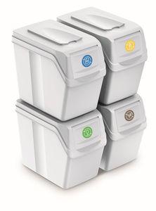 Prosperplast Mülleimer Abfalleimer Müllsortierer Mülltrennsystem SortiBox Set 4 x 20 Liter Weiß