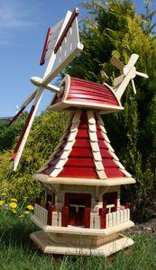 Holzwindmühle, Windmühlen für den Garten mit Solarbeleuchtung rot Typ 2