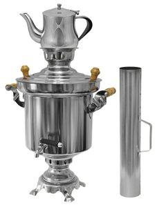 Edelstahl Holzkohle Samowar 5 Liter mit 0,9 Liter Teekanne + Schornstein , Holzkohlesamowar, Samawar, russische und türkische Tradition. Tee kochen am Grillplatz, Wasserkocher mit Kohle, Teekocher
