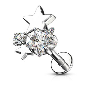 Labret Piercing Lippenpiercing Stab Sterne Stars Monroe Madonna Medusa Stecker Stud Zirkonia Kristalle Autiga®  1,2 mm 8 mm