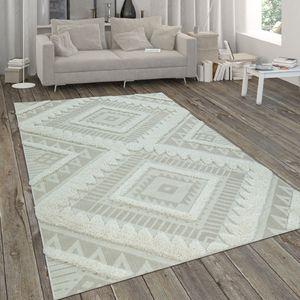 In- & Outdoor-Teppich, Flachgewebe Mit Hochflor-Absetzung, Ethno-Design In Beige, Grösse:80x150 cm