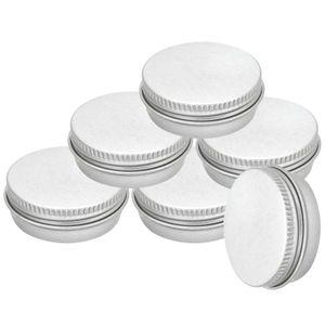 6 Aluminium-Dose rund mit Schraubdeckel leer Metalldosen Behälter Schachtel Variantenwahl, Farbe:aluminiumgrau, Größe:Ø 55 x 21 mm | 30 ml