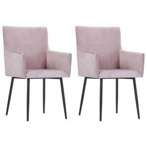 vidaXL Esszimmerstühle mit Armlehnen 2 Stk. Rosa Samt