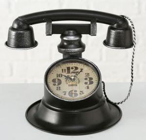 Boltze Tischuhr Retro Telefon 21cm Uhr Standuhr Eisen schwarz
