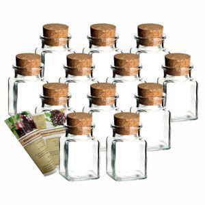 gouveo 12er oder 24er Set 150 ml Korkengläser Quadrat incl. Deckel und Flaschendiscount-Rezeptbroschüre, Verschluss:Presskorken, Setgröße:24er Set