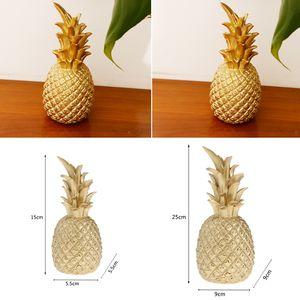 2 Pack Kreative Harz Ananas Geformt Ornament Geschenk Home Desktop Wohnzimmer Dekoration   Gold 5,5x5,5x15 Cm