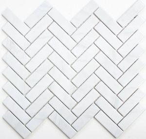 Mosaik Fliese Keramik Fischgrät Steinoptik weiß Fliesenspiegel Küche MOS24-SO10_f | 10 Mosaikmatten