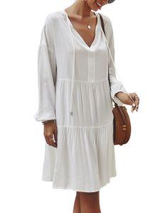 Frauen Langarm Midi Kleid Damen V-Ausschnitt Casual Loose T-Shirt Tops Midi Kleid,Farbe:Weiß,Größe:S
