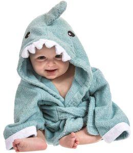 Kapuzenhandtuch Baby: Frottee Bademantel - Babyhandtuch mit Kapuze - Kapuzenbadetuch (Hai blau)