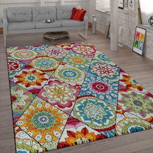 Kurzflor Teppich Wohnzimmer Bunt Retro Design Mandala Muster Design Boho Stil, Grösse:160x220 cm