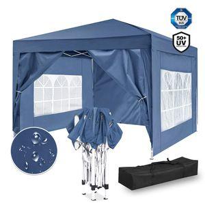 ISE 3x3m Garten Faltpavillon Pavillon inkl.Tragtasche,Gartenzelt,UV-Schutz 50+ mit 4 Seiten Teilen für Garten,Party,Hochzeit,hoch Qualität (Blau)
