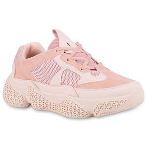 Mytrendshoe Damen Plateau Sneaker Turnschuhe Schnürer Profilsohle Plateauschuh 826043, Farbe: Rosa, Größe: 37