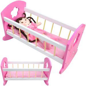Wiege Puppenbett Holz Weiß/Rosa Kissen Decke Spielzeug  Stabil 6508