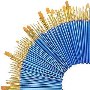 50x fein Pinselset Künstlerpinsel Set Künstlerpinsel Malpinsel Pinsel Flachpinsel Toraypinsel Pinsel Set für Aquarell Acryl und Öl Nylon