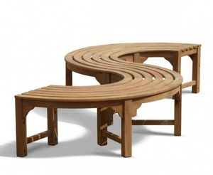 "Baumbank Fermo S-Form Teak Massivholz ""270 cm 180°"""