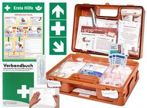 Verbandskoffer/Verbandskasten (K) -Komplettpaket- Erste Hilfe nach DIN 13157 für Betriebe -DSGVO- INKL. PERFORIERTEM VERBANDBUCH + Aushang + Aufkleber