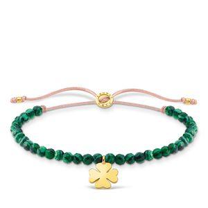 Thomas Sabo A1983-140-6 Armband Grüne Perlen mit Kleeblatt Vergoldet