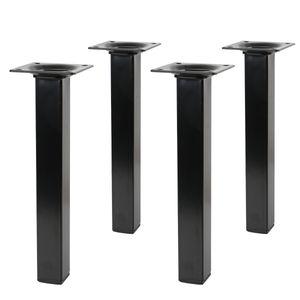 4er Set schwarze Möbelfüße Eckig 25 x 25mm Höhe 150mm Möbelstützen aus Metall
