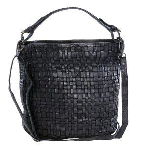 Bear Design Handtasche Damen Tasche Leder Schultertasche Flechtoptik Shopper schwarz für Damen Frauen CL32444-black