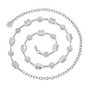 Damen Mode Metall Taillenkette Kettengürtel Taillengürtel Strass Perlen Körperschmuck, Feine Hochzeit Dekoration Weiß