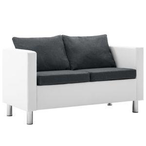 vidaXL 2-Sitzer-Sofa Kunstleder Weiß und Dunkelgrau