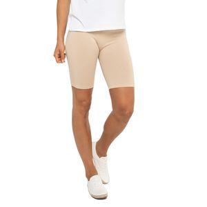 Celodoro Damen Kurzleggings (1 Stück), Stretch-Jersey Radlerhose aus Baumwolle - Beige L