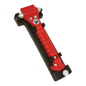 Lifehammer notfallhammer Profi mit Gurtschneider 19 cm rot