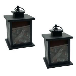 2er Set Deko LED Kaminofen Laterne Flammeneffekt Kaminfeuer Dekolaterne Kaminlaterne Tischkamin Kamin Lampe Flamme Feuerlampe Dekokamin Tischleuchte