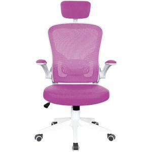 Bürostuhl Ergonomisch  Drehstuhl Schreibtischstuhl Mesh Netzstoff office Stuhl, Farbe:Weiß / Rosa mit Kopfstütze