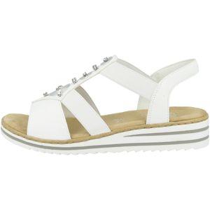 Rieker V0687 Damen Sandalen Keilabsatz Sandaletten, Größe:40 EU, Farbe:Weiß