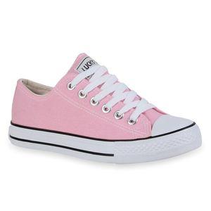 Mytrendshoe Damen Sneakers Sportschuhe Schnürer Schuhe 94237, Farbe: Rosa, Größe: 39