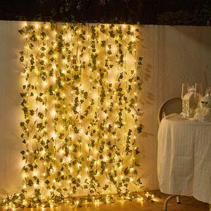 5m Künstliche Grüne Efeu Girlande mit 50LED Kupferdraht Lichterketten für Garten Hochzeit Wanddekoration
