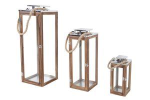 3er XXL Holz-Laternen-Set Windlicht Gartenlaterne Edelstahldach