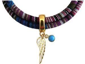 Damen Armband Wickelarmband Vergoldet Flügel Engel AZTEC Türkis