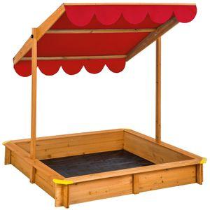 tectake Sandkasten mit verstellbarem Dach - rot