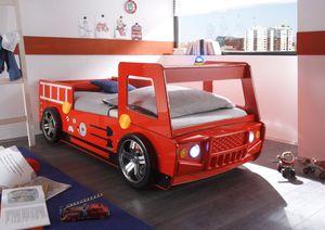 Autobett Löschi Feuerwehr Hochglanz rot inklusive LED-Beleuchtung MDF Holz 90*200 cm Kinderzimmer Junior Spiel Einzel Truck Kinderbett